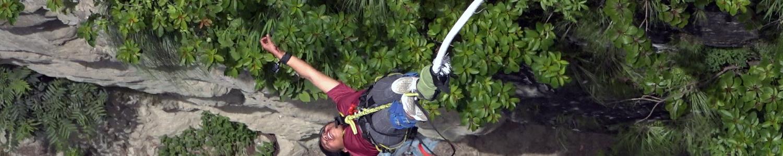 brave girl Bimala doing bungee jumping from The Last Resort Nepal